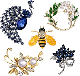 5 Pieces Vintage Elegant Animal Style Flower Shape Brooch Set For Women - Honey Bee Peacock Leaf Bouquet - Colorful Crysta...
