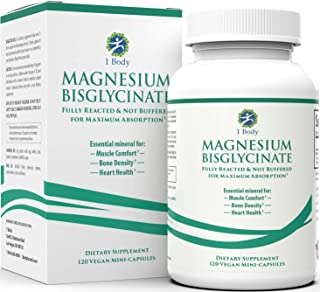 Magnesium Bisglycinate Chelate - Reduce Muscle Cramps and Improve Sleep - Maximum Absorption with no Laxative Effects - 10...