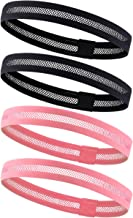 4 Pack Dreamlover Sports Headband, Women's Yoga Hairband, Men's Sweatband for Running, Travel and Fitness, Cutout Non Slip Elastic Sports Headband with Silicone Strips (Black and Light Coral)