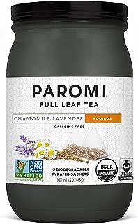 Paromi Tea Organic Chamomile Lavender Caffeine-Free Rooibos Tea, 15 Pyramid Tea Bags - Non-GMO