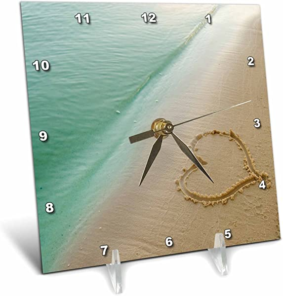 3dRose Dc 173299 1 Heart Shape Symbolizing Love Heart Carved In Sand On The Beach Desk Clock 6 By 6