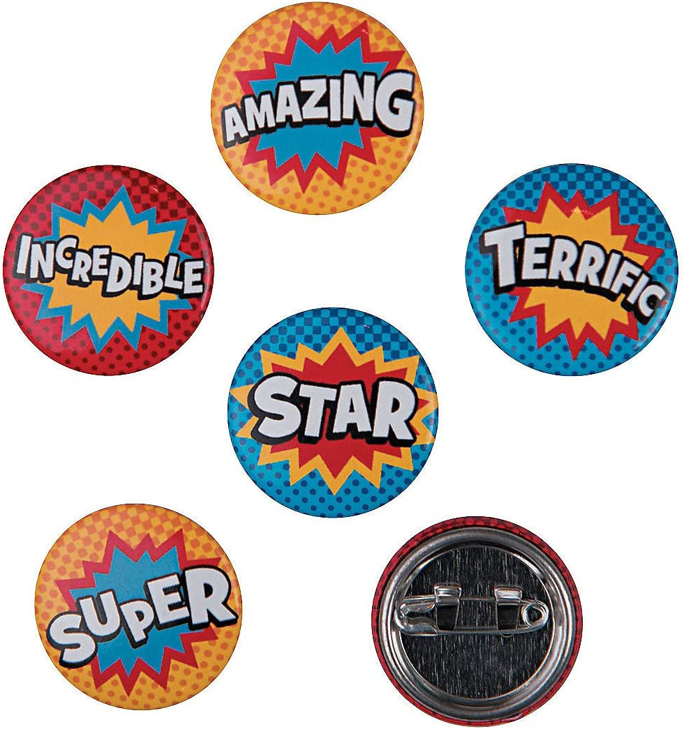 Superhero Mini Buttons - 48 Pieces - Educational and Learning Activities for Kids : Clothing, Shoes & Jewelry