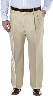 Haggar Men's B&T Premium No Iron Khaki Classic Fit Pleat Front Pant Pants