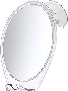 آینه بدون مه با HoneyBull Shower Mirror (ضد مه) با ساکشن جام و مفصل گردنده | آینه تراشیدن با تیغ قلاب - سفید