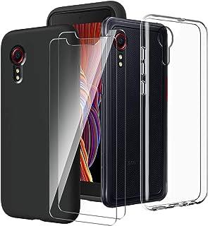 LYZXMY Coque pour Samsung Galaxy Xcover 5 Transparent Housse + Noir Étui+ [2 Pièces] Verre trempé écran Film Protecteur - ...