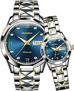 Couple Automatic Watches for Men and Women,His and Hers Tungsten Steel Mechanical Tourbillon Dress Wristwatch Waterproof with Day Date Calendar Sapphire Big Face Large Dial Pyramid Bezel