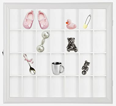 Gallery Solutions 18x16 Collectible Display Case Shadow Box with Hinged Front, White