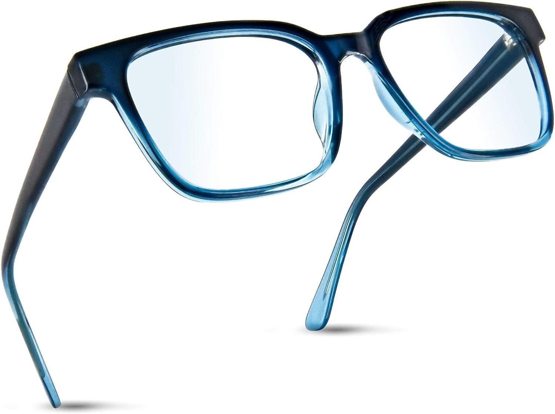 Blue Light Glasses for Men Women, Blue Square Oversized Anti Blue Light Nerd Eyeglasses Frame, Computer Screen Glasses for Teens (Non Prescription) OLIVENA