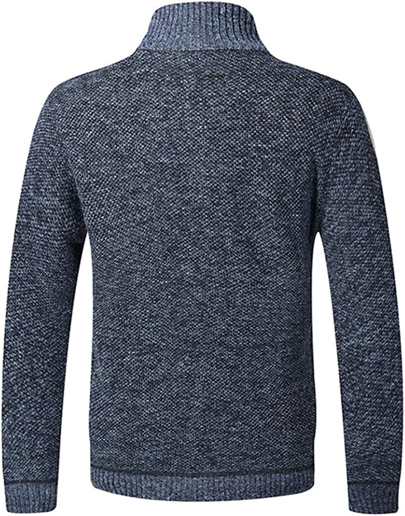 Wintermantel warm Dicker Pullover mit durchgehendem Rei/ßverschluss Stehkragen Fleece-gef/üttert Jinsha Herren Strickjacke