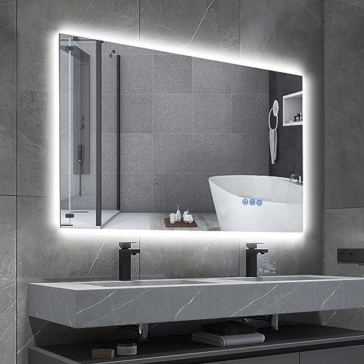 BBE 900 x 700 LED-Badezimmerspiegel Dimmbare hintergrundbeleuchtet Anti-Beschlag Wand-montierbarer Make-up Spiegel mit Berührungsschalter...