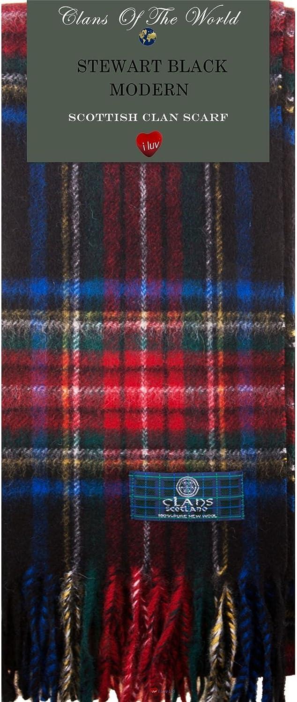 Stewart Black Modern Tartan Clan Scarf 100% Soft Lambswool