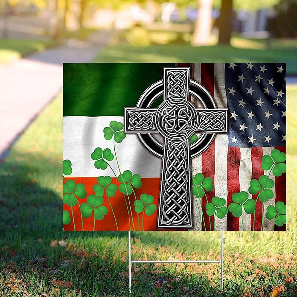 The Max 61% OFF Irish Celtic Cross Lucky Charm Max 65% OFF Décor Yard Sign Weathe