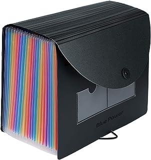 Expanding File Folder Organizer, BluePower 24 pochettes A4 Classeur de classement extensible Arc-en-ciel Organiseur de Bur...