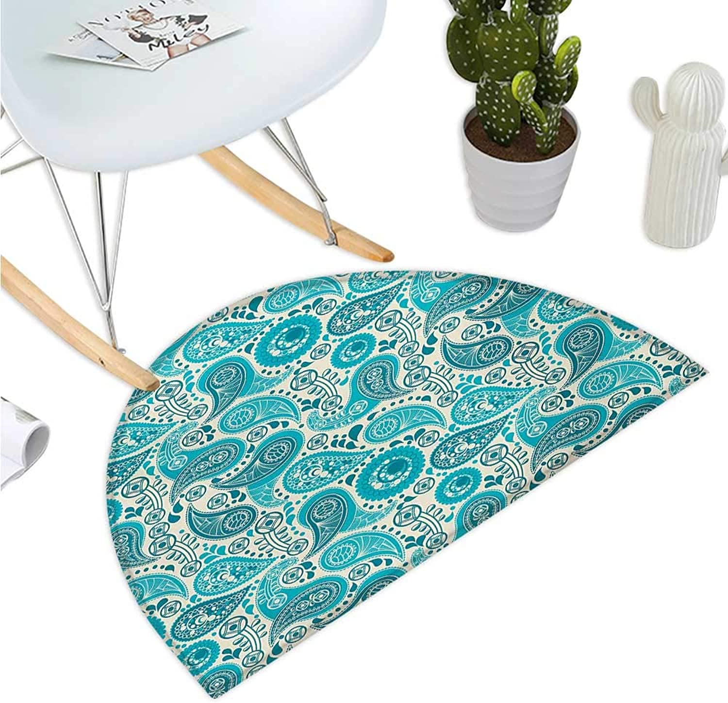 Turquoise Semicircular Cushion Paisley Pattern Antique Floral Pattern Ornaments Stylized Classical Middle Eastern Bathroom Mat H 39.3  xD 59  Aqua Teal