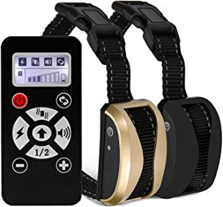 Dog Training Collar, Automatic Bark Collar with 800 Yards Remote, Rechargeable and Rainproof Dog Shock Collar with Shock Vibration Beep for Puppy, Small, Medium and Large Dog Breeds (2 Dogs)