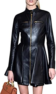 Royale Leather Bodycon Natural Celebrity Cowhide Real Leather Sexy Party and Club Women Dress