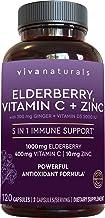 Elderberry, Vitamin C, Zinc, Vitamin D 5000 IU & Ginger Immune Support Supplement, 2 Month Supply (120 Capsules) - 5 in 1 ...