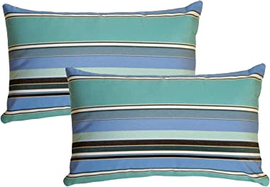 """PILLOW DÉCOR Sunbrella Outdoor Pillow, Dolce Oasis, 12""""x19"""" (Set of 2) - Inserts Included"""
