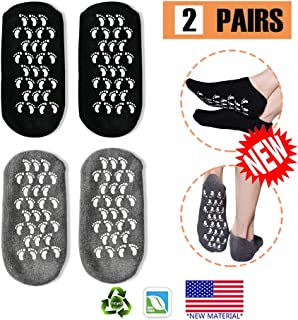 Gel Socks, Moisturizing Socks, Soft Moisturizing Gel Socks, Gel Spa Socks For Repairing and Softening Dry Cracked Feet Skins, Gel Lining Infused with Essential Oils and Vitamins (Black & Gray) …