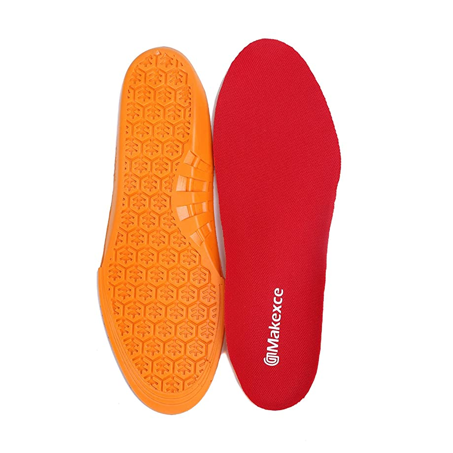 Makexce Insole Anti-Fatigue Shoe Insoles - Full Length Comfort Cushioning Neutral Arch Replacement Shoe Insole/Insert for Men's&Women's (Men's 10-10.5, Women's 12-12.5, Red)