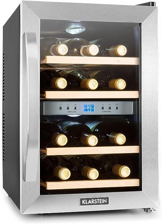 Frigorifero per vini e bevande,34 l,12 bottiglie,4 ripiani,range di temperature:07° - 18°c,klarstein HEA3-RESERVA-34GG