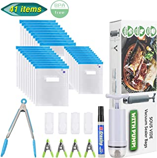 Sous Vide Bags,Aufisi 30 Packs Reusable Vacuum Food Storage Kit for Sous Vide Cooking,3 Sizes Sous Vide Bag with 1 Hand Pump,1 kitchen tong,1 Marker,4 Zipper Clips,4 Sealing Clips,BPA-free