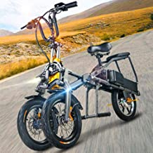 ZHaoZC Bicicleta eléctrica para Adultos, Bicicleta eléctrica de Equilibrio Triciclo invertido Plegable, Scooter de Tres Ruedas, batería de Litio Doble, Puede Viajar 30 km/h por Hora