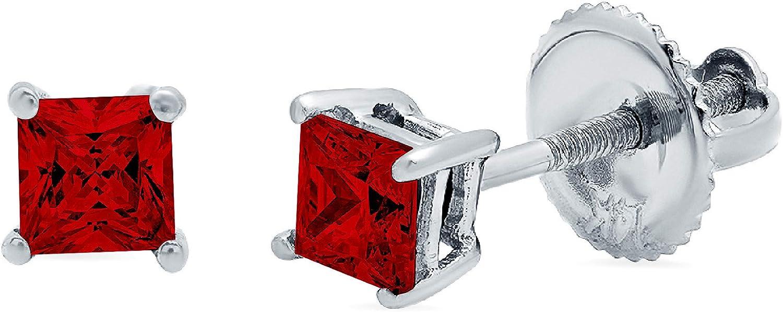 0.4ct Princess Cut Solitaire Natural Crimson Deep Dark Red Garnet gemstone Unisex Designer Stud Earrings Solid 14k White Gold Screw Back conflict free Jewelry