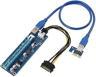 Alto grado - PCI-E exprese 1x a 16x la tarjeta de la canalización del extensor + cable de transmisión de SATA 6pin + 60 cm USB 3,0 cable de extensión