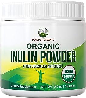 Organic Inulin Powder - Natural Prebiotic Fiber for Gut Health. USDA Organic Raw Whole Food Plant Based Veg...