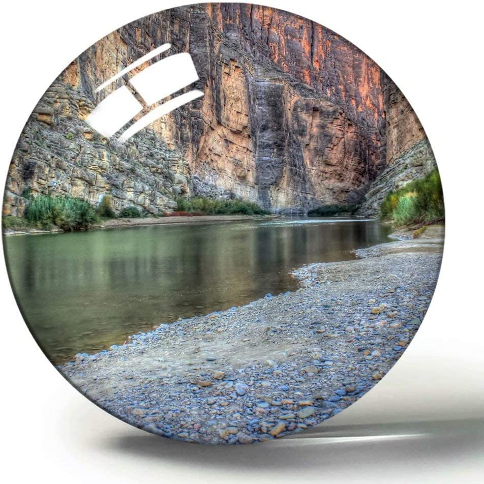 Hqiyaols Souvenir Santa Elena Canyon Big Bend Park Texas Imán de Nevera de Recuerdo 3D Imanes de Nevera de Cristal de círculo de Regalo de Viaje