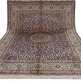 Yilong Carpet 9'x12' Handmade Isfahan Persian Silk Rug Oriental Double...