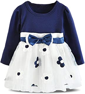 Infant Baby Girls Long Sleeve Cotton Flower Dress for 6-24 Months