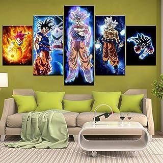 Rjbzd Dipinti su Tela 5 Pezzi Pittura Arte murale Poster modulari Bevande di Birra Colorate Immagine Tela Moderna Soggiorno Quadro HD Stampato Decorazioni per la casa 200x100cm