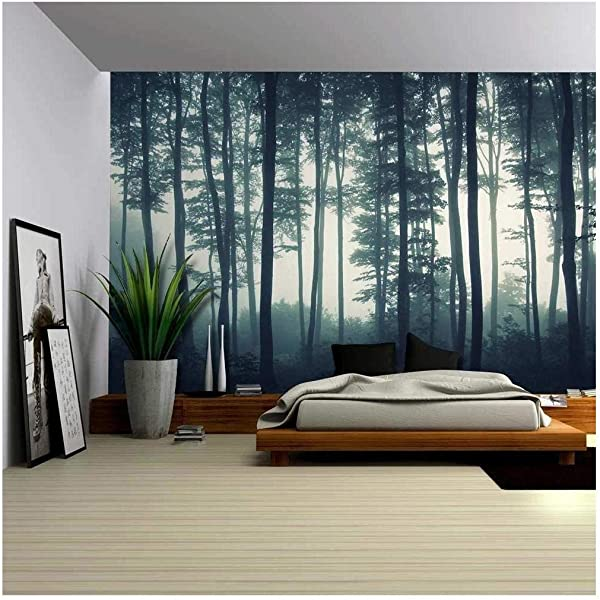 Wall26 Landscape Mural Of A Misty Forest Wall Mural Removable Sticker Home Decor 100x144 Inches