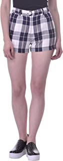 Martini Women Rayon Checks Casual Summer Shorts (White, 30)
