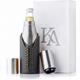 Kamenia Stainless Steel Beer Bottle Holder –Vacuum Insulated Double Walled Bottle Cooler For Beer Bottles With Magnet-Automatic Beer Bottle Opener And Leather