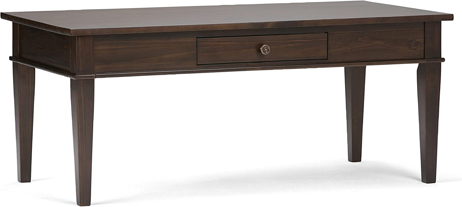 SIMPLIHOME Carlton SOLID WOOD 44 inch Wide Rectangle Contemporary Coffee Table in Dark Tobacco Brown, for the Living Room and Family Room