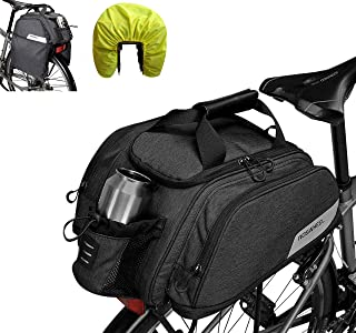 Beautylife 168 Bike Trunk Bag Bicycle Pannier Bag, Water Resistant Rear Seat Trunk Bag Bike Commuter Carrier Bag with Rain Cover & Shoulder Strap
