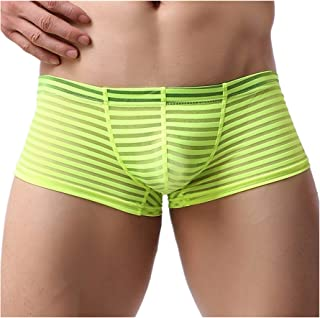 Yomie Mens Sexy Ice Silk See Through Stripe Boxer Briefs U Convex Underwear Low Waist Stripe Underwear Mesh See Through Tr...