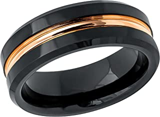 TosowebOnline Mens 8mm Brushed Finish Red IP Grooved Center Black IP Beveled Edge Comfort Fit Tungsten Carbide Anniversary Ring