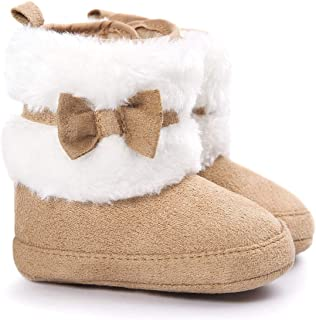 LIVEBOX Baby Girls' Premium Soft Sole Bow Anti-Slip Mid Calf Warm Winter Infant Prewalker Toddler Snow Boots (M: 6~12 Months, Khaki) …