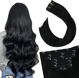 Ugeat Clip in Human Hair Extensions 14inch Hair Extensions Clip in 100% Real Hair Extensions Jet Black Remy Human Hair Extensions Clip in Extensions Human Hair 7PCS/100GR