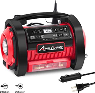 Tire Inflator Air Compressor, 12V DC / 110V AC Dual Power Tire Pump with Inflation and..