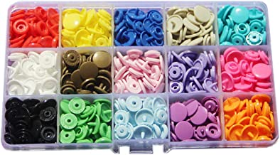 15-Color KAM Snaps Storage Container 150 Sets Size 20 T5 Plastic Fasteners Punch Poppers Closures No-Sew Buttons for Cloth...