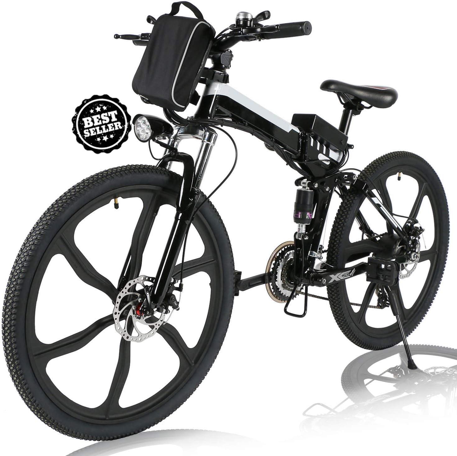 Angotrade 26 inch Don't miss the campaign Detroit Mall Folding Electric Bike E-Bike Mountain 21 Speed