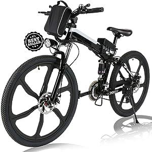 Angotrade 26 inch Folding Electric Bike Mountain E-Bike