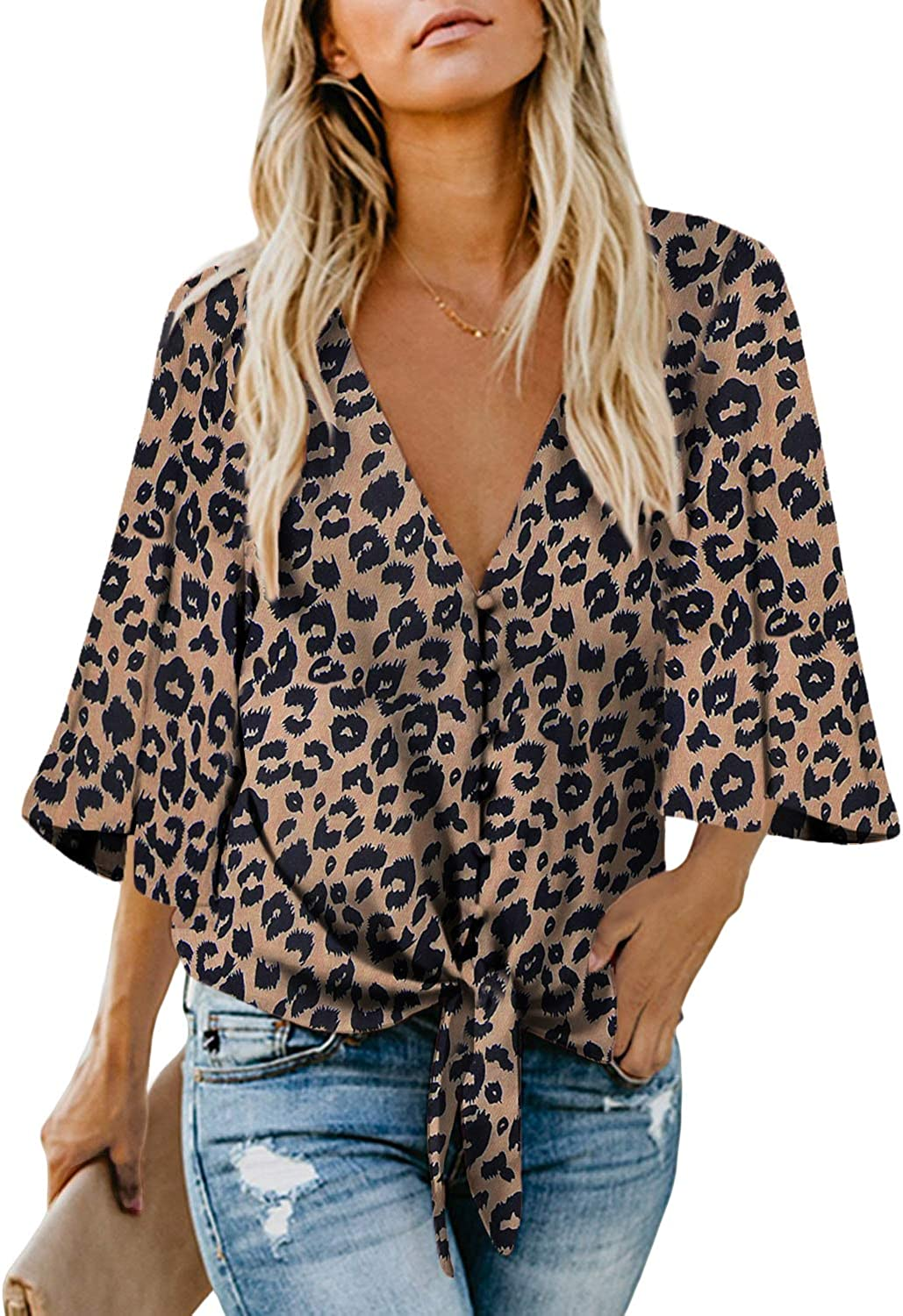 Biucly Women's V Neck Tops 3/4 Sleeve & Short Sleeve Chiffon Casual Tie Knot Blouses Button Down Shirts