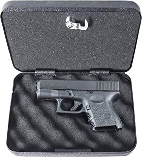 Metal Gun Case with Combination Lock, Safe Lock Pistol Box with Security Cable, 9 1/3