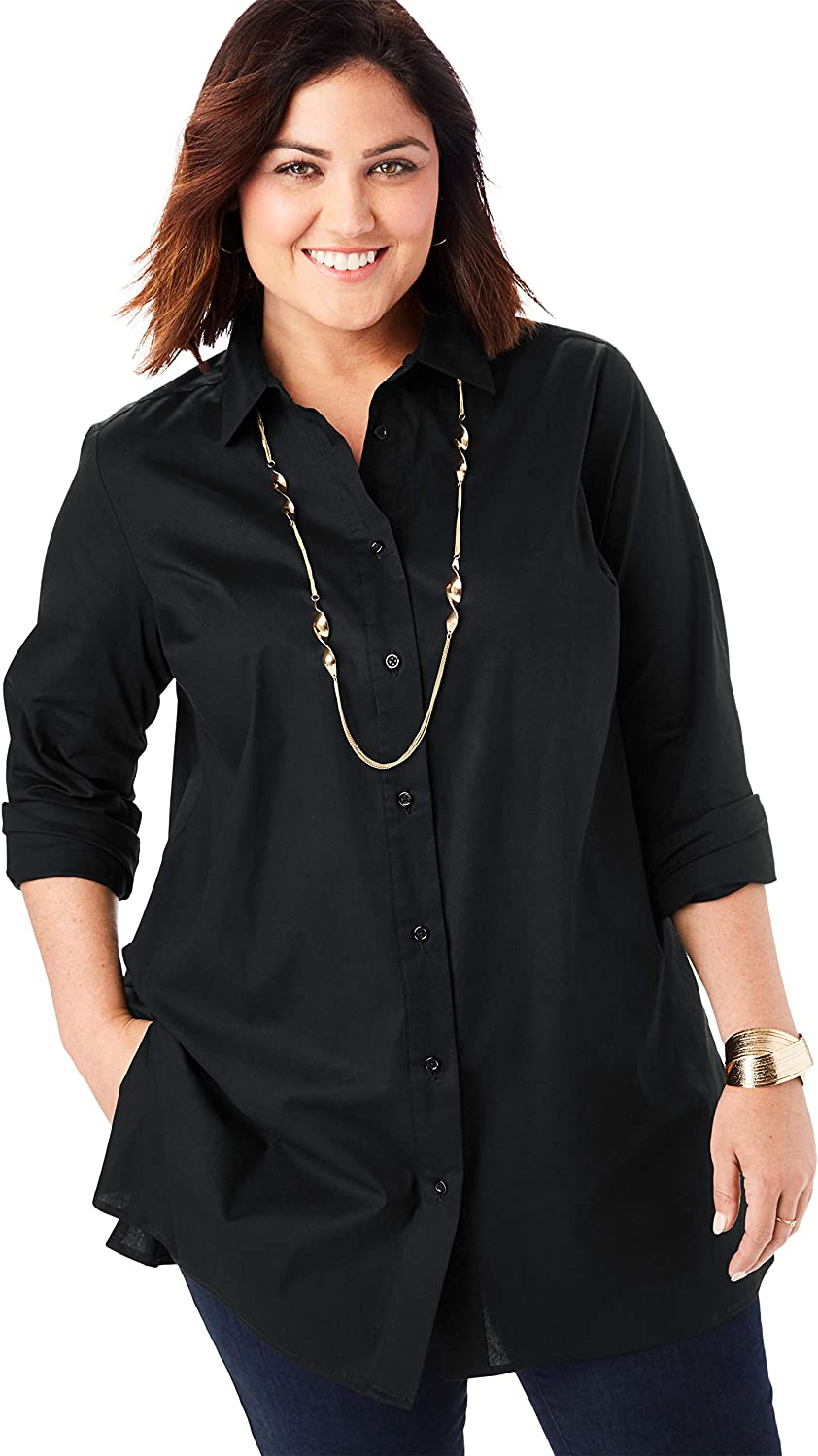 Don't miss the campaign Jessica London Women's Plus Size Poplin Down Button Tunic OFFer S Long